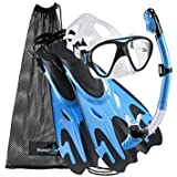 Phantom Aquatics Navigator Mask Fin Snorkel Set, Arctic Blue, Medium/Large(9-12)