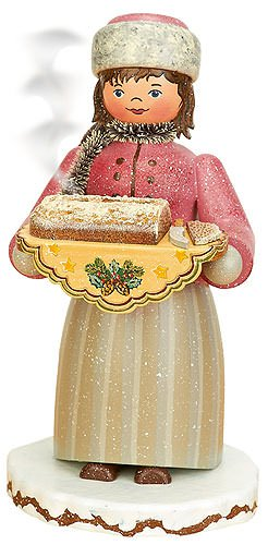 German Incense Smoker Winterchild Girl with stollen - 20cm / 8inch - Hubrig Volkskunst by Authentic German Erzgebirge Handcraft (Image #1)