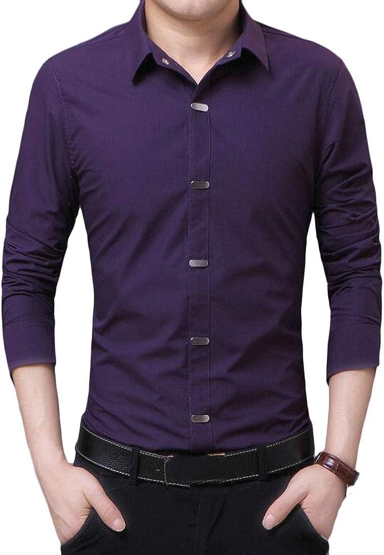 WSPLYSPJY Mens Long Sleeves Slim Business Button Down Non-Iron Dress Shirt