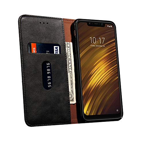 MChoice for Xiaomi PocoPhone F1 Retro Magnetic Flip PU+Leather Wallet Case Stand Cover (Black)