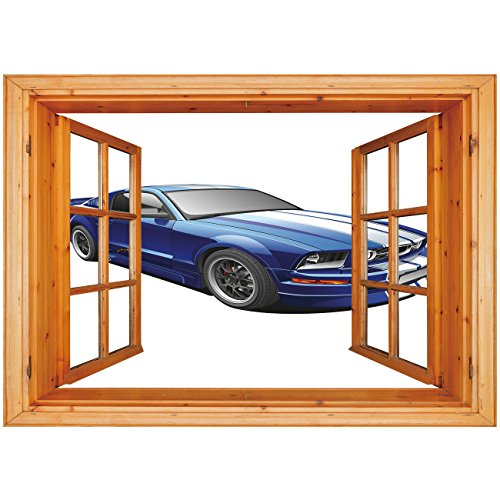- 3D Depth Illusion Vinyl Wall Decal Sticker [ Teen Room Decor,American Auto Racing Car Sports Competition Speed Winner Boys Kids Graphic,Blue Grey ] Window Frame Style Home Decor Art Removable Wall Sti