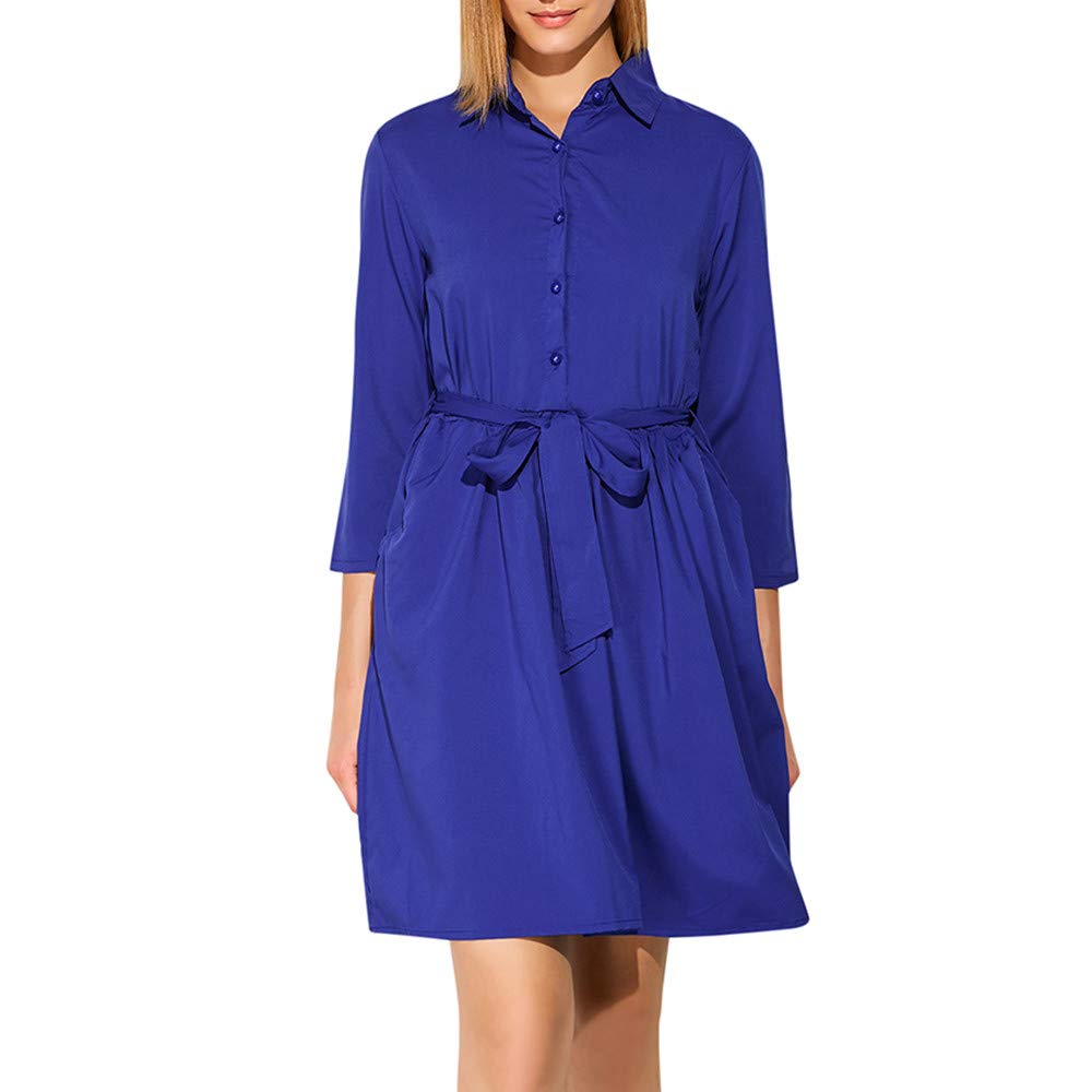 HHmei Elegant Casual Summer Shirt Dress with Belt Elegant Sleeve Swing Dress Party