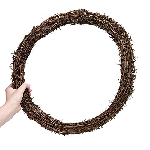 AQUEENLY Grapevine Wreath, 15.7 Inch Twigs Wreath DIY Vine Wreath Decorations for Front Door Wall Hanging (Vine Wreath 18)