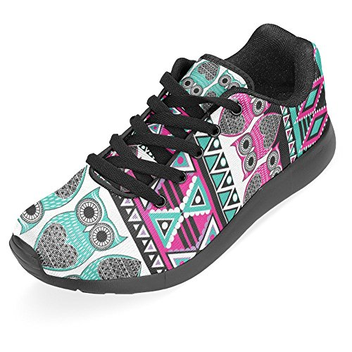 Interestprint Womens Jogging Running Sneaker Leggero Andare Easy Walking Casual Comfort Sport Scarpe Da Corsa Aztec Modello Etnico Colorato Gufi Ornamentali Multi 1