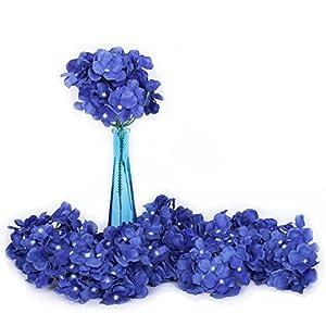 Li Hua Cat Artificial Flowers 10pcs Artificial Hydrangea Silk Centrepieces and Arrangement Real Touch Flowers for Home Decor Wedding Parties (Royal blue)