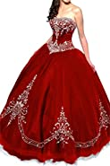 DLFASHION Women's Strapless Ball Gown Embroidered Quinceanera Dress