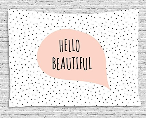 Hello Tapestry, Romantic and Motivational Message in a Pastel Colored Speech Balloon Hand Drawn Dots, Wall Hanging for Bedroom Living Room Dorm, 60 W X 40 L Inches, Blush Black ()