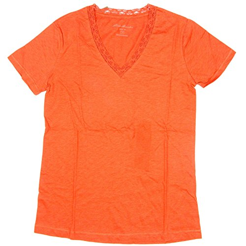 Eddie Bauer Womens Lace Trim V-Neck Tee Shirt Large Rust (Bauer Lace)