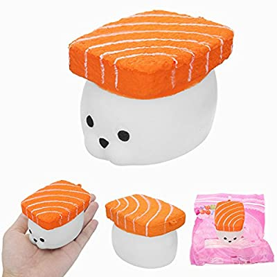 MAUBHYA Squishy Salmon Fish Sushi Seal 8cm Slow Rising 8s With Packaging Collection Gift Decor Toy: Toys & Games [5Bkhe2006012]
