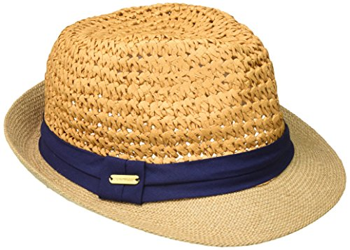 Steve Madden Women's Two Weave Banded Fedora, Navy One Size ()