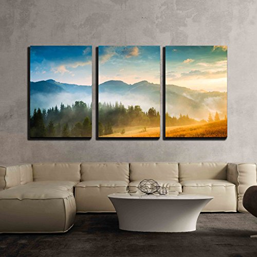 Amazing Mountain Landscape with Fog and a Haystack x3 Panels