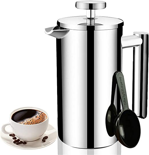 Joyeee Cafetera émbolo de Doble Pared Acero Inoxidable Prensa Francesa 700ml, Cafetera de Pistón Coffee French Press Tea Makers Maquina Café Tetera con Filtro y Cucharas de Medir: Amazon.es: Hogar