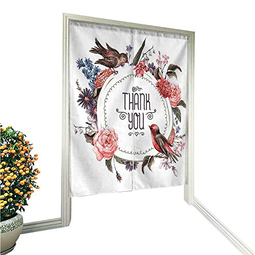 """QianHe Noren Doorway Curtain TapestryEffect Decor Collection French Botanical Nature Vintage Exotic Birds and Floral Design Acc Home Decoration Tapestry for 33.5"""" Wx66.9 L"""