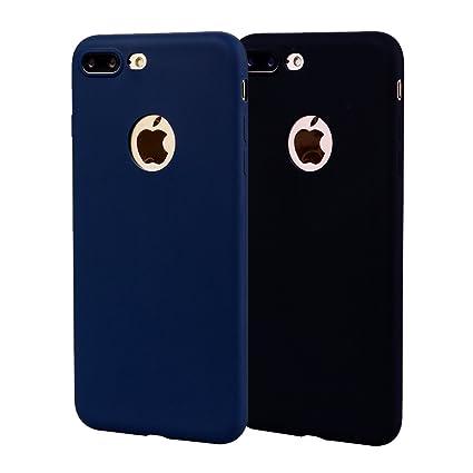 Funda iPhone 8 Plus, Carcasa iPhone 8 Plus Silicona Gel, OUJD Mate Case Ultra Delgado TPU Goma Flexible Cover para iPhone 8 Plus - Negro + Azul