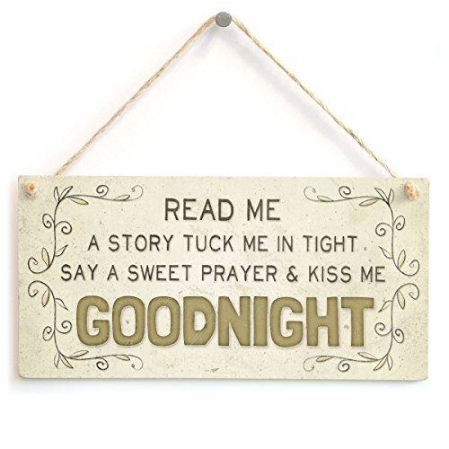 Wood Wall Plaque Read Me A A Story Tuck Me In Tight Say A Sweet Prayer and Kiss Me Goodnight Baby Child Wall Decor Sign Home Accessory Gift Sign