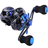 Sougayilang Baitcasting Fishing Reel 7.0:1 Gear - Low Profile Carbon Fiber Drag 9+1 Bearing Dual Magnetic Brakes Fishing Reels (Left)