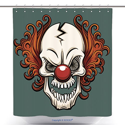 Funky Shower Curtains Evil Scary Clown Halloween Monster Joker Character Vector Illustration 408561739 Polyester Bathroom Shower Curtain Set With Hooks