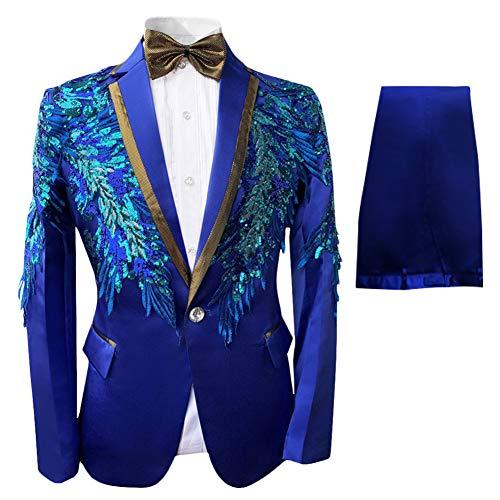 Boyland Boys 3 Pieces Suit Notch Lapel Tuxedo Jacket Pants Bowtie Shiny Party Dress Blue 3 Styles