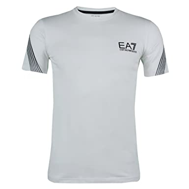 4cead2da24f0 Emporio Armani EA7 Train 7 lines Mens Designer Cotton Stretch T Shirt Tee  White Large  Amazon.co.uk  Clothing