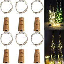 Fengus Pack of 6 Wine Bottle Lights with Cork Shaped 20 LEDs Micro Fairy Lights Copper Wire Starry Lights for Bottle DIY Decor,Halloween, Birthday Party,Christmas(Warm White)