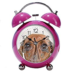 GIRLSIGHT 4 Twin Bell Alarm Clock with Fun Animal Dial, Backlight, Battery Operated Loud Alarm Clock 478.Red Dachshund(red)