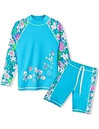 96909e77b3 Girls Swimsuit UPF 50+ UV Two Piece Long Sleeve Swimwear Rash Guard Sets  Kids 3