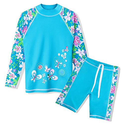 TFJH E 2 Piece Swimsuits for Girls Children UPF 50+ UV Sun Protetive Swimwear 9/10,Blue Flower 140/146