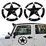 Opar Black US Army Military Star Decals for Jeep Wranglers