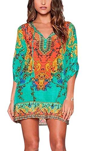 Style Bohemian Casual Printed Ethnic Dress Cover Vintage up Beach Women Shift Summer Dress tBfHwtq