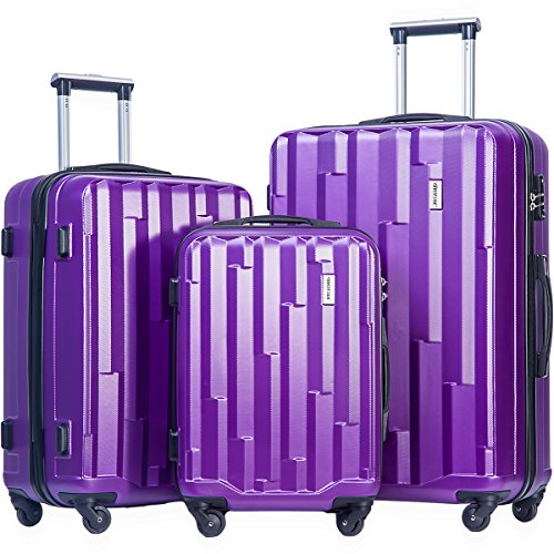 Merax Luggage set 3 piece luggages Suitcase with TSA lock (Purple) by Merax