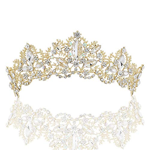 Sppry Women Tiara Crown - Baroque AB Crystal Headband for Bridal Queen Princess Girls at Wedding Birthday Pageant (Gold)