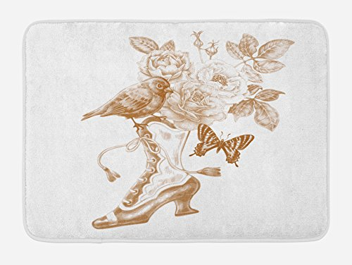 Ambesonne Victorian Bath Mat, Nostalgic Boots with Roses Butterfly and Bird British Trend Upper Class Shoe Art, Plush Bathroom Decor Mat with Non Slip Backing, 29.5 W X 17.5 L Inches, Brown White