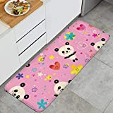 Fashion Kitchen Mat Cute Funny Pandas Pink Background Doormats Soft and Comfortable Entrance Rug Long Time for Use 47.2'x17.7'