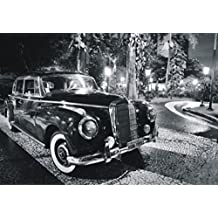 Vintage Cars Poster Photo Wallpaper - Black Mercedes, 4 Parts (142 x 100 inches)