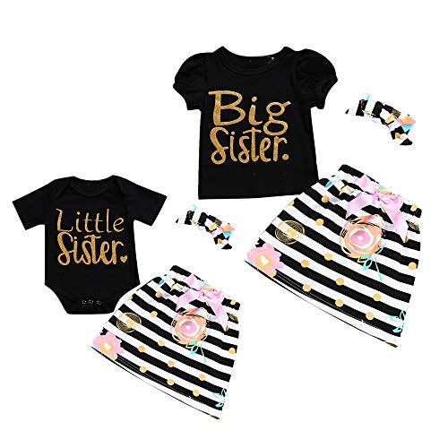 Little Big Sister Matching Romper T-Shirt Polka Dot Skirt Headband Outfits Set (4-5T, - For Outfits Girls Matching