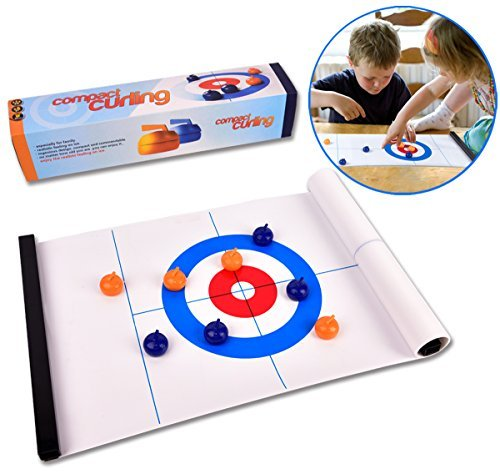 Best Price! Tabletop Curling Game-Compact Curling Board Game,Mini Table Games for Family, School, Office or Travel Play