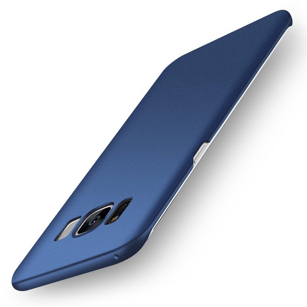 pzx Samsung Galaxy S8 ケース 全面保護 指紋防止 3層メッキ加工 シリコン塗装技術 耐衝撃 PC素材 保護カバー (Galaxy S8, ネイビー)