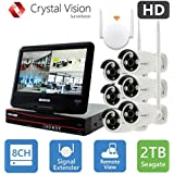 [8CH] Crystal Vision CVT9608E-3010W All-in-One TRUE HD Wireless Surveillance System NVR CCTV w/ 2TB HDD, Built-in Monitor & Router, Camera Auto Pair