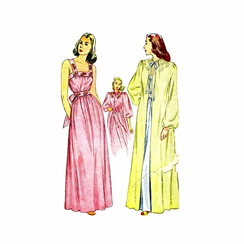 (1940s Nightgown and Negligee Simplicity 1798 Vintage Sewing Pattern Size 14 Bust 32)