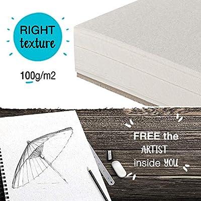 """⭐ Pack de 2 x Bloc de Dibujo Profesional, A4 (9""""x12"""") con Espiral - 200 x Hojas Blancas (100gr) - Cuadernos de Dibujo con Tapa Rígida - Block de Páginas Vírgenes para Dibujar, Garabatear: Oficina y papelería"""