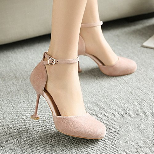 Sandals ZCJB High-heeled Shoes Fine Heel Shoe Round Head Pink Wedding Shoes Sexy Word Buckle Shallow Mouth Shoes (Color : Pink, Size : 34) Pink