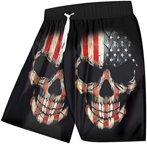 Men Swimshorts Summer Cool Print American Flag 3D Board Shorts Skull Bermuda Shorts Fitness Workout Trouser