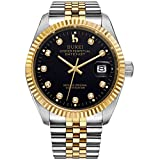 BUREI Men Automatic Watch with Two-Tones Black Dial Gold Plated Stainless Steel