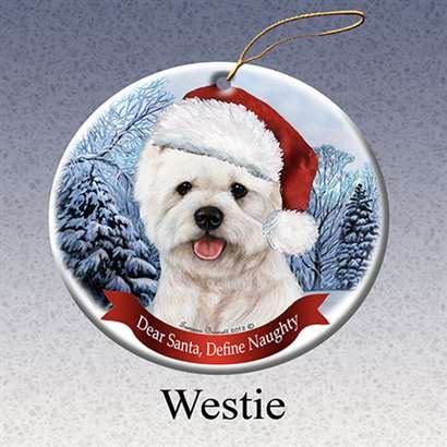Westie West Highland White Dog Santa Hat Christmas Ornament Porcelain China U.s.a. Gift