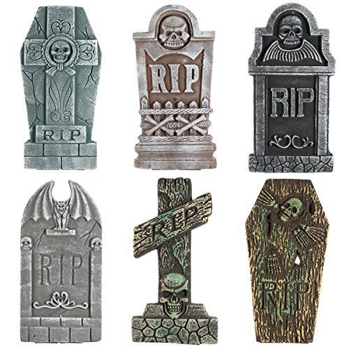 Unomor 6 Pack Halloween Decorations Outdoor 17'' Foam RIP Graveyard Tombstones for Halloween Yard Decorations with 12 Metal Stakes (Yard Tombstone Decorations)