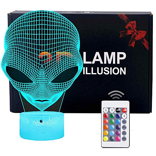 FLYMEI 3D Nightlights for Kids 3D Alien Desk Lamp Unique Night Light for Room Decor 7 Colors Changing USB Powered Touch Button LED Table Lamp – Best Gifts for Kids/ Friends/ Birthdays/Christmas