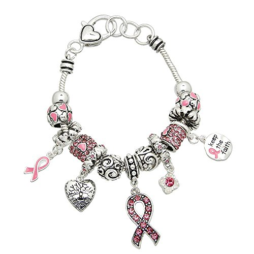 Lola Bella Gifts Crystal Keep The Faith Pink Ribbon Breast Cancer Awareness Charm Bracelet with Gift Box ()