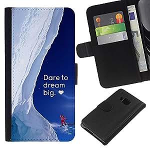 Planetar® Modelo colorido cuero carpeta tirón caso cubierta piel Holster Funda protección Para HTC One M9 ( Grande ideal nieve invierno de Alaska Corazón Coraje )