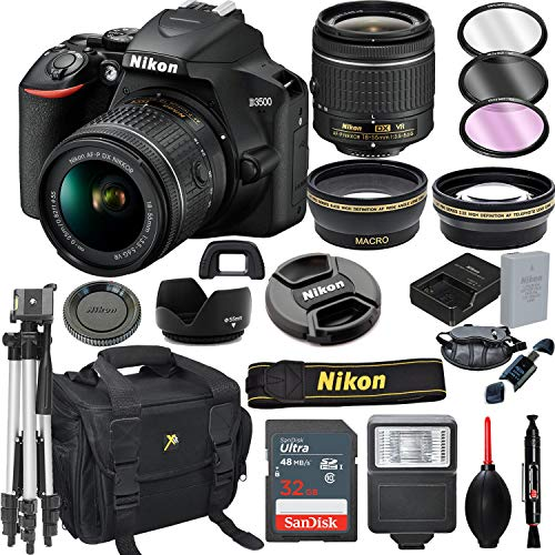 Nikon D3500 DSLR Camera with 18-55mm VR Lens + 32GB Card, Tripod, Flash, and More (20pc Bundle)