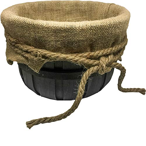 Home Zone Handcrafted Wood Woven Burlap Basket w/Rope